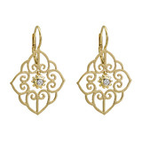 "18k Gold & Diamond ""Arabesque"" Drop Earrings"