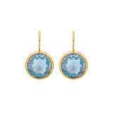 Bezel-Set Blue Topaz Drop Earrings