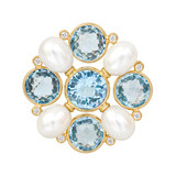 Blue Topaz, Pearl &amp; Diamond Pendant Brooch