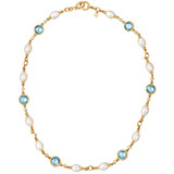 Blue Topaz, Pearl &amp; Diamond Necklace