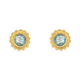 Blue Topaz Sunflower Stud Earrings
