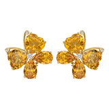 Citrine & Diamond Butterfly Earrings