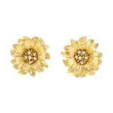 18k Gold & Diamond Daisy Earrings