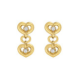 Short 18k Gold & Diamond Heart Drop Earstuds