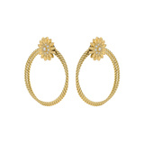 ​18k Yellow Gold Twisted Wire Hoop Sunflower Earclips