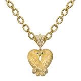 18k Gold & Gem-Set Love Birds Pendant
