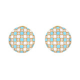Multicolored Enamel & Diamond Button Earclips