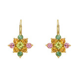 Multicolored Gemstone Cluster Drop Earrings