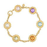 Multicolored Gemstone Sunflower Bracelet