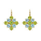 ​Peridot & Blue Topaz Cluster Drop Earrings