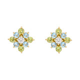 Peridot, Blue Topaz & Diamond Cluster Earrings