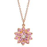 Pink Sapphire &amp; Diamond Flower Pendant