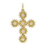 18k Gold &amp; Diamond Sunflower Cross Pendant