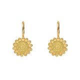 18k Gold Sunflower Drop Earrings