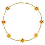 18k Gold &amp; Citrine Sunflower Necklace