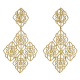 Large 18k Gold & Diamond Tapestry Chandelier Earclips
