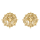 "Large 18k Gold ""Wrought Iron"" Earclips"