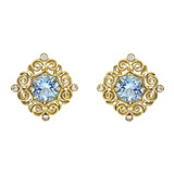 &quot;Wrought Iron&quot; 18k Gold &amp; Blue Topaz Earclips