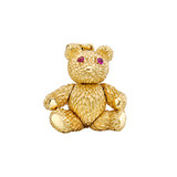 "Large ""Bearloom"" 18k Gold Charm with Ruby"