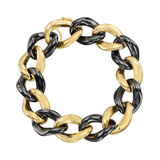 Black Ceramic & 18k Gold Curb-Link Bracelet