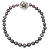 Black Cultured Pearl Necklace with Diamond Clasp