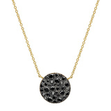 Medium 18k Yellow Gold & Black Diamond Circle Pendant