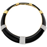 Black Onyx & Pavé Diamond Choker Necklace