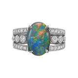 ​Black Opal & Diamond Dress Ring