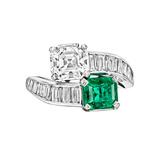 Diamond & Emerald Bypass Ring