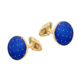 18k Gold & Blue Enamel Round Cufflinks