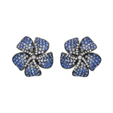 Pavé Blue Sapphire & Diamond Flower Earrings