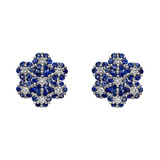 Blue ​​Sapphire & Diamond Foliate Cluster Earrings