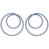 Large Blue Titanium & Diamond Hoop Earrings