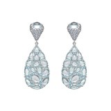 Blue Topaz & Sapphire Double Drop Earrings