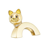 Small 18k Gold Cat Convertible Pin/Jabot