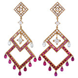 Diamond, Ruby & Pink Sapphire Chandelier Earrings