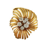18k Gold & Diamond Blossom Pin