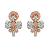 Pink & White Diamond Bow Earclips