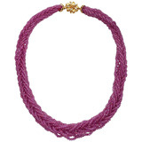 Braided Multi-Strand Ruby Bead Necklace