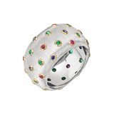 18k White Gold &amp; Multicolored Gemstone Band Ring
