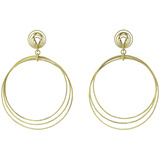 "Large 18k Yellow Gold ""Hawaii"" Hoop Pendant Earrings"