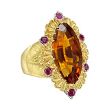 Navette-Cut Citrine & Ruby Cocktail Ring