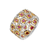 18k Gold & Ruby Cutout Band Ring