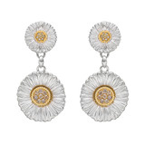 Silver, Gold & Diamond Daisy Pendant Earrings