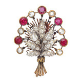 Ruby & Diamond Flower Bouquet Pin