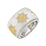 "Silver & 18k Gold ​""Geminato"" Wide Band Ring"