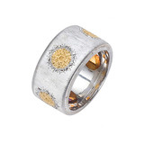 """Geminato"" Sterling Silver & 18k Gold Band Ring"