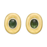 18k Gold & Green Tourmaline Domed Earclips