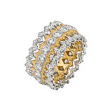 """Lacey Edge"" 18k Gold & Diamond Openwork Band Ring"