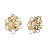 "18k Gold & Diamond ""Maria"" Button Earrings"